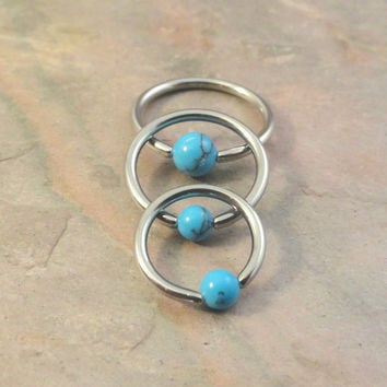 20 Gauge Turquoise Stone CBR Cartilage Hoop Earring Tragus Helix Conch