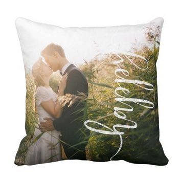 Happy Newlywed Photo Pillow