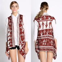 New Fashion Women's Floral Printing Irregular Knitted Cardigan Vest Coat   SV007469