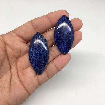"""2pcs, 23.7g,1.8""""-2"""" Natural Lapis Lazuli Marquise Cabochons @Afghanistan,CP46"""