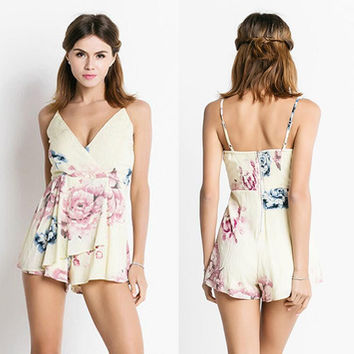 Apricot Floral Print Spaghetti Strap Backless Romper