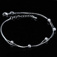 Jewelry Cute Gift New Arrival Shiny Sexy Ladies Korean Stylish Accessory Double-layered Matte 925 Silver Gifts Anklet [8171785991]
