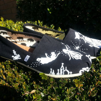 Disney Peter Pan Custom Toms by likemothstoaflame on Etsy