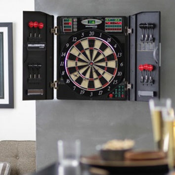 Dart Board Electronic Set Cabinet Cricket Soft Tip Steel Tip LED Scoreboard NEW