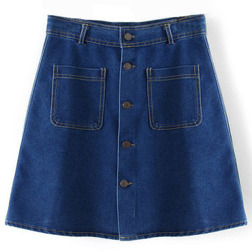 Blue Denim Skirt with Buttons