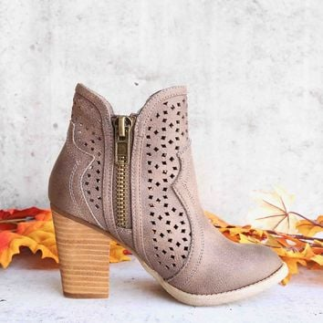 not rated - gretchen laser cut ankle bootie - taupe