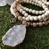SUNSTONE Mala Beads with Druzy Quartz Pendant | White Wood Meditation Prayer Necklace | Japa Mala 108 Bead Yoga Mala