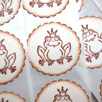 Frog Prince Crown Stickers -Set of 12 Stickers/ Envelope Seals (Princess Bridal/ Wedding/ Fairy Tale Theme, decor/ invitations/ favors)