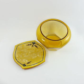 Powder Box - Glass and Celluloid Powder Box - Mid Century Dresser Box - Yellow Glass - Mid Century Power Box - Vintage Celluloid and Glass
