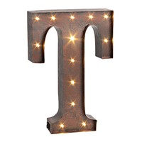 Letter ''t'' LED Lighted Wall Decor (Brown)