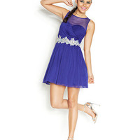 Speechless Juniors' Sheer-Top Jeweled Party Dress