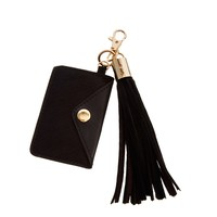 ASOS Leather And Faux Pony Keychain With Tassel And Card Holder