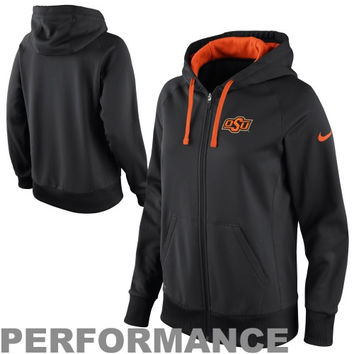 Nike Oklahoma State Cowboys Ladies Sideline Scoop Full Zip Performance Hoodie - Black