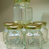 Set of 6 - 3.5 Ounce Quadra Dlx Clear Glass Jars From Europe with Seal Tight Gold Cap