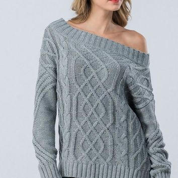 Cable Knit Off Shoulder Sweater - Grey