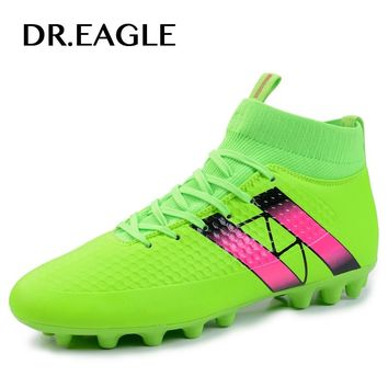 Men's Black/green orange sneakers AG Sole Outdoor Futzalki High ankle Football Boots Shoes Soccer cleats football superfly boot