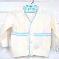 Vintage Baby Boy Sweater, Baby Boy Clothes, Baby Boy Cardigan, Baby Boy Cable Knit Sweater with Blue Trim. #