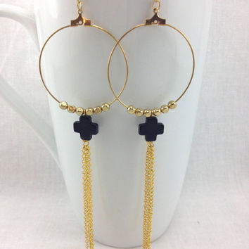 Gold Hoop Shoulder Duster Earrings with Black Cross