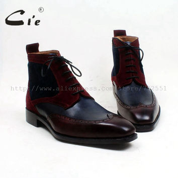Square toe wingtips 100% genuine calf leather boot handmade bespoke leather lacing men ankle boot