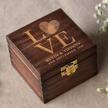 Wood Wedding Ring Bearer Box, Fingerprint Box Rustic Wooden Ring Box ,  Engraved  Bride and groom names