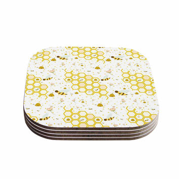 "Stephanie Vaeth ""Honey Bees"" White Yellow Coasters (Set of 4)"
