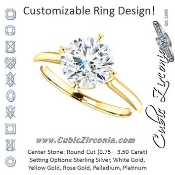 Cubic Zirconia Engagement Ring- The Adora (Customizable Round Cut Solitaire with Raised Prong Basket)