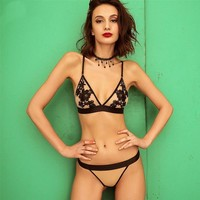 Floral Embroidered Sexy Lingerie Set