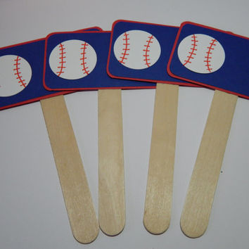 Baseball Food Markers - Baseball Birthday Party Decor - Set of 4