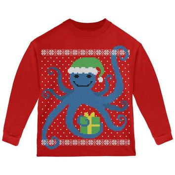 DCCKJY1 Ugly Christmas Sweater Octopus Red Toddler Long Sleeve T-Shirt