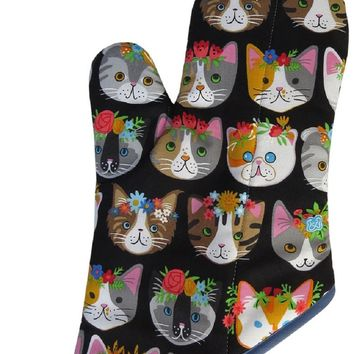 Handmade Oven Mitt: Flower Cat