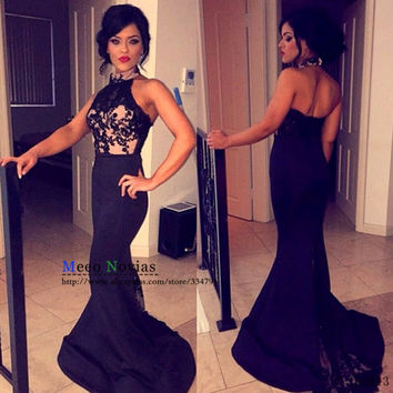 Sexy Halter Mermaid Prom Dresses Backless Lace Applique Imported Party Dress Long Graduation Dresses Evening Wear Designer