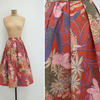 1950s Skirt - Vintage Batik Cotton Skirt - Koggala Skirt