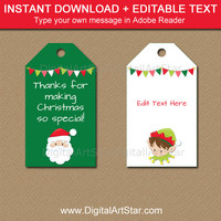 Holiday Tags, PRINTABLE Holiday Gift Tags, Santa Tags, Elf Tags, Kids Christmas Tags, Holiday Favor Tags, Christmas Hang Tag Download C2