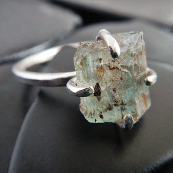 Green Beryl Crystal and Sterling Silver Ring, Rough Crystal Ring, Raw Stone Ring, Aquamarine Ring, Emerald Ring, Crystal Ring, Gaia's Candy