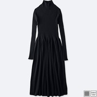 WOMEN U MERINO RIBBED MOCK NECK LONG-SLEEVE DRESS