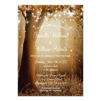 Chic Rustic Country Tree String Lights Wedding Card
