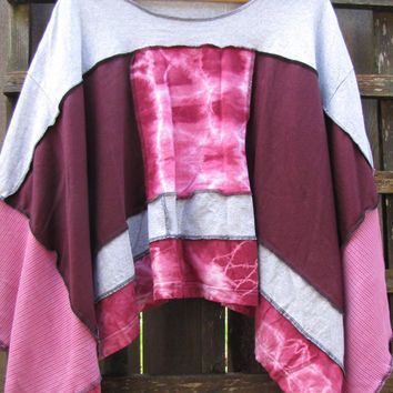 Eco Upcycled Sweater Shawl Poncho One Size/Tie Dye Patchwork Lagenlook Hippie Poncho Funky Romantic Cape Cover Up