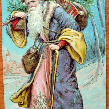 Santa Claus Postcard, Christmas Poscard, Santa Purple Robe, Santa Germany Card, Antique Postcard, Otto Schloss