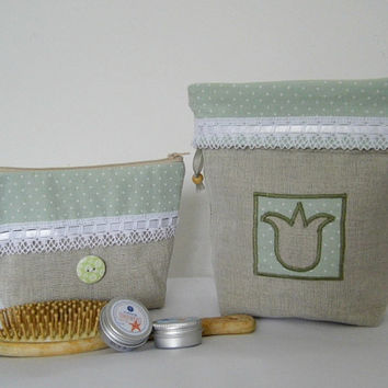 Mother's Day gift idea, burlap sachet and cosmetic bag in vintage style