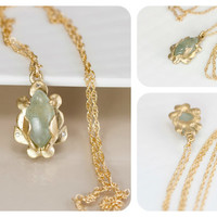 Mossy Aquamarine Necklace in 14k Gold - READY TO SHIP - Mossy Green Aquamarine, Diamonds, and 14k Yellow Gold