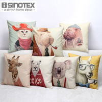 Vintage Animal Cushion 45*45cm Linen Cushions Home Decor Cat for Car Seat Home Sofa