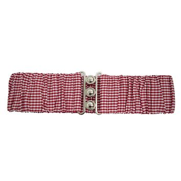 Retro Vintage Red & White Gingham Checks Silver Retro Clasp Elastic Waist Belt