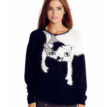 Casual Fuzzy Cat Knitted Sweater