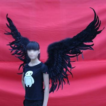 Large Cosplay Black Feather Wings Party Halloween Event Club Stage Costume
