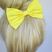 Hair Bow Clip - Bright Yellow