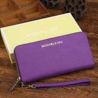 MK Michael Kors Fashion Women Shopping Leather Zipper Wallet Purse Purple I