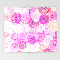 Mandala Flowers in a Colorful Pattern Throw Blanket by Octavia Soldani | Society6