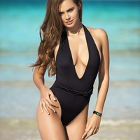 Black Deep V One Piece