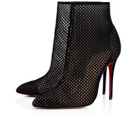 Gipsybootie 100 Black Fishnet - Women Shoes - Christian Louboutin