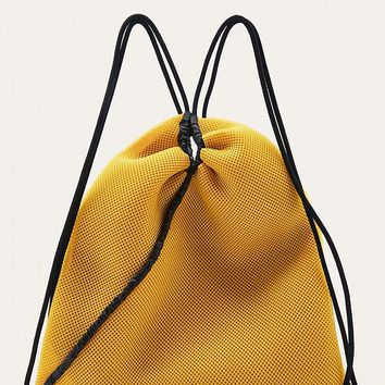 MM6 Mustard Netted Drawstring Backpack | Urban Outfitters